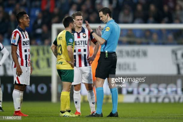 Renato Tapia of Willem II Michael Pinto of Fortuna Sittard Jordens Peters of Willem II referee Richard Martens during the Dutch Eredivisie match...