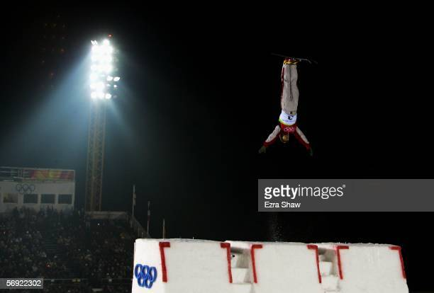Renato Ulrich of Switzerland competes in his final jump in the Mens Freestyle Skiing Aerials Final on Day 13 of the 2006 Turin Winter Olympic Games...