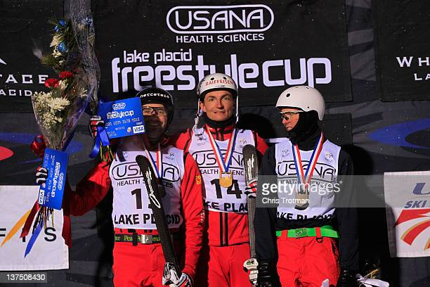 Renato Ulrich of Switzerland wins a bronze medal Thomas Lambert of Switzerland wins a gold medal and Petr Medulich of Russia wins a bronze medal in...
