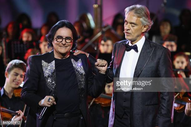 Renato Zero and Andrea Bocelli perform at the Andrea Bocelli show as part of the 2017 Celebrity Fight Night in Italy Benefiting The Andrea Bocelli...