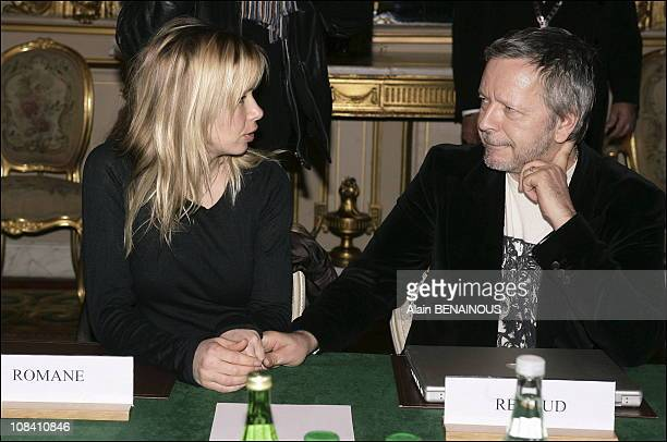 Renaud and his wife Romane Serda in Paris, France on February 22, 2006.