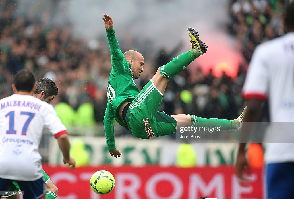 Renaud Cohade of Saint-Etienne in action during the Ligue 1 match between Olympique Lyonnais, OL, and AS Saint-Etienne, ASSE, at the Stade Gerland on April 28, 2013 in Lyon, France.