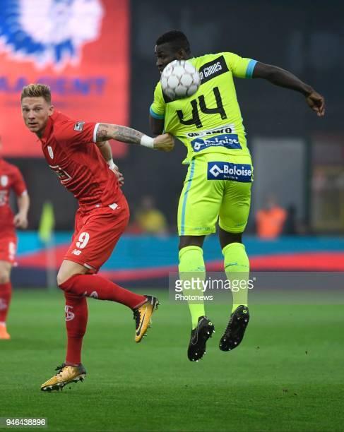 Renaud Emond forward of Standard Liege and Anderson Esiti midfielder of KAA Gent during the Jupiler Pro League play off 1 match between R Standard de...