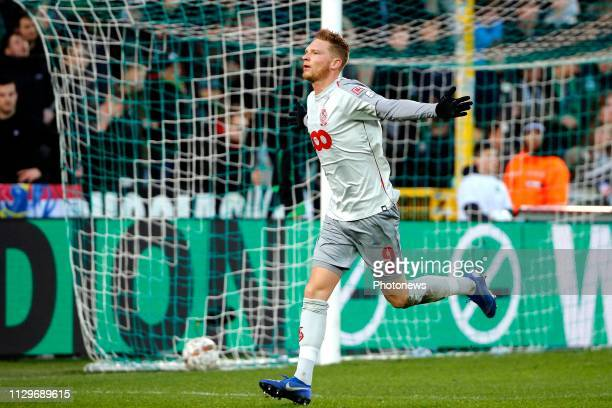 Renaud Emond forward of Standard Liege celebrates scoring a second goal pictured during the Jupiler Pro League match between Cercle Brugge KSV and...