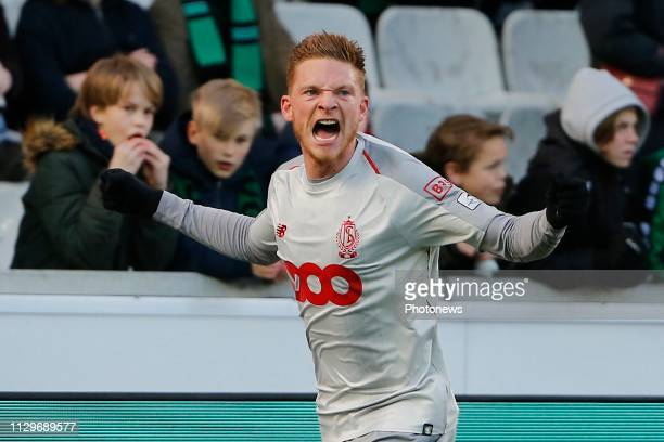 Renaud Emond forward of Standard Liege celebrates scoring the opening goal pictured during the Jupiler Pro League match between Cercle Brugge KSV and...