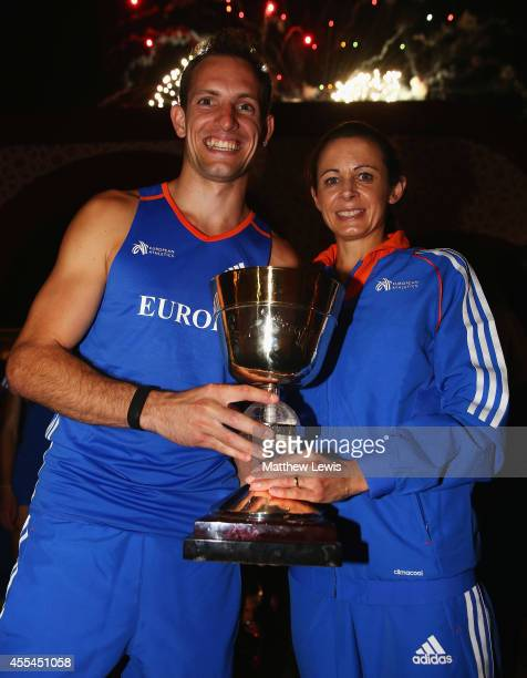 Renaud Lavillenie and Jo Pavey Captains of Europe pictured with the trophy after winning the IAAF Continental Cup at the Stade de Marrakech on...