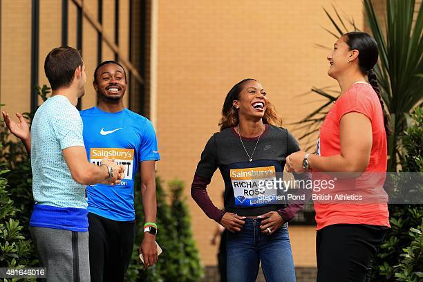 Renaud Lavillenie of France Aries Merritt of USA Sanya RichardsRoss of USA and Valerie Adams of New Zealand talk during a press conference ahead of...