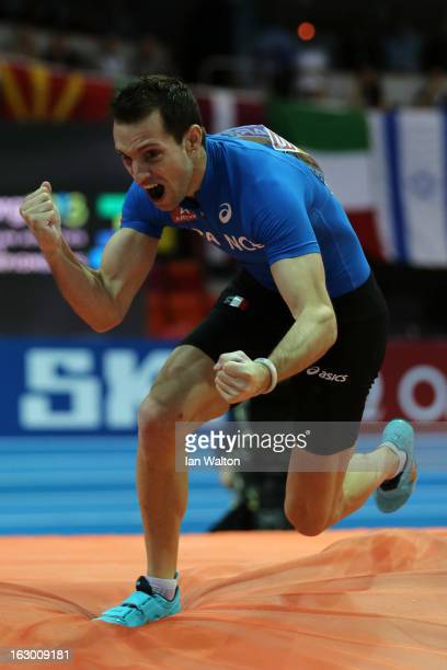 Renaud Lavillenie of France celebrates a succesful jump in the Men's Pole Vault Final during day three of European Indoor Athletics at Scandinavium...