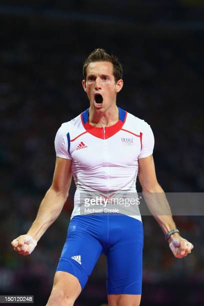 Renaud Lavillenie of France celebrates after a jump during the Men's Pole Vault Final on Day 14 of the London 2012 Olympic Games at Olympic Stadium...