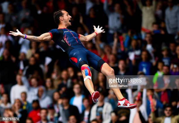 Renaud Lavillenie of France celebrates as competing in the Men's Pole Vault Final during day three of the European Athletics Team Championships at...