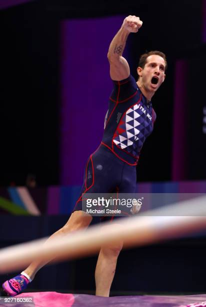 Renaud Lavillenie of France celebrates in the Men's Pole Vault Final during the IAAF World Indoor Championships on Day Four at Arena Birmingham on...