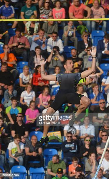 Renaud Lavillenie of France competes during the Men's Pole Vault event at the IAAF World challenge Zlata Tretra athletics tournament in Ostrava on...
