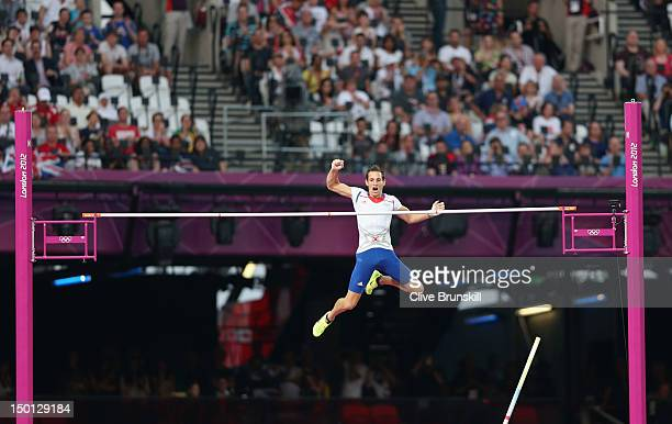 Renaud Lavillenie of France competes in the Men's Pole Vault Final on Day 14 of the London 2012 Olympic Games at Olympic Stadium on August 10 2012 in...