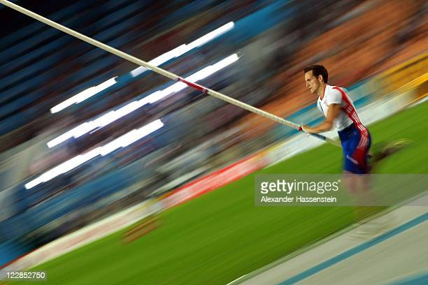 Renaud Lavillenie of France competes in the men's pole vault final during day three of the 13th IAAF World Athletics Championships at the Daegu...