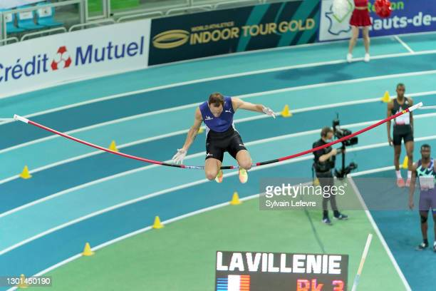 Renaud Lavillenie of France competes in the Men's Pole Vault final during the World Athletics Indoor Tour at Arena Stade Couvert on February 09, 2021...
