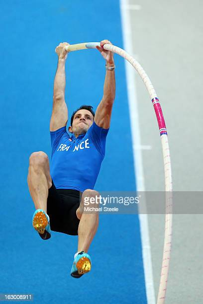 Renaud Lavillenie of France competes in the Men's Pole Vault Final during day three of European Indoor Athletics at Scandinavium on March 3 2013 in...