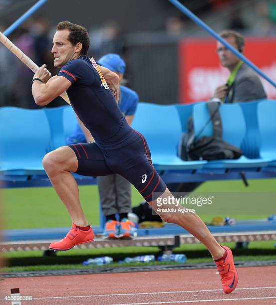 Renaud Lavillenie of France competes in the Men's Pole Vault final during day five of the 22nd European Athletics Championships at Stadium Letzigrund...