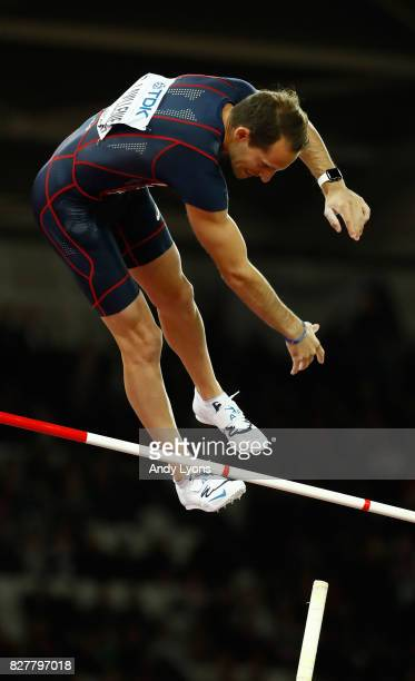 Renaud Lavillenie of France competes in the Men's Pole Vault final during day five of the 16th IAAF World Athletics Championships London 2017 at The...