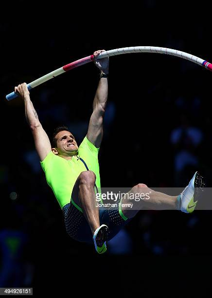 Renaud Lavillenie of France competes in the pole vault during day 2 of the IAAF Diamond League Nike Prefontaine Classic on May 31 2014 at the Hayward...