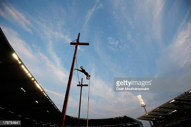 Renaud Lavillenie of France competes in the Pole Vault Men during the 2013 Belgacom Memorial Van Damme IAAF Diamond League meet at The King Baudouin...