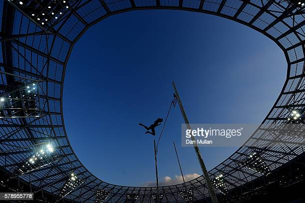 Renaud Lavillenie of France in action during the mens pole vault on Day One of the Muller Anniversary Games at The Stadium - Queen Elizabeth Olympic...