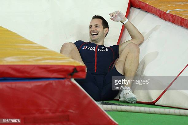 Renaud Lavillenie of France reacts after an attempt in the Men's Pole Vault Final during day one of the IAAF World Indoor Championships at Oregon...