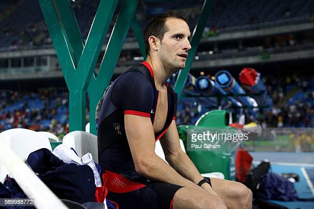 Renaud Lavillenie of France reacts after placing second in the Men's Pole Vault final on Day 10 of the Rio 2016 Olympic Games at the Olympic Stadium...