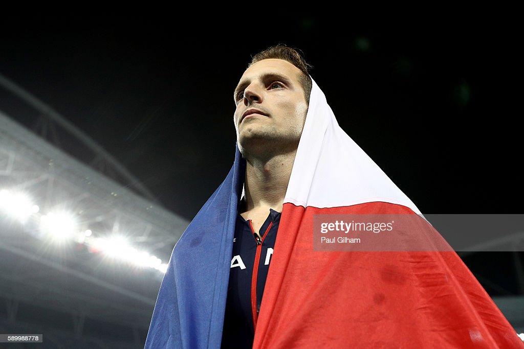 Renaud Lavillenie of France reacts after placing second in the Men's Pole Vault final on Day 10 of the Rio 2016 Olympic Games at the Olympic Stadium on August 15, 2016 in Rio de Janeiro, Brazil.