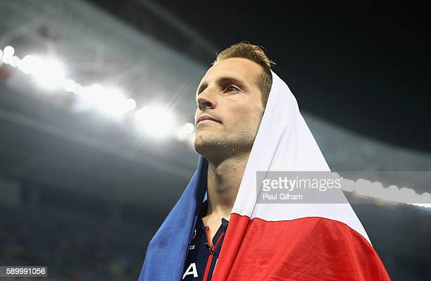 Renaud Lavillenie of France reacts after winning the silver medal in the Men's Pole Vault final on Day 10 of the Rio 2016 Olympic Games at the...
