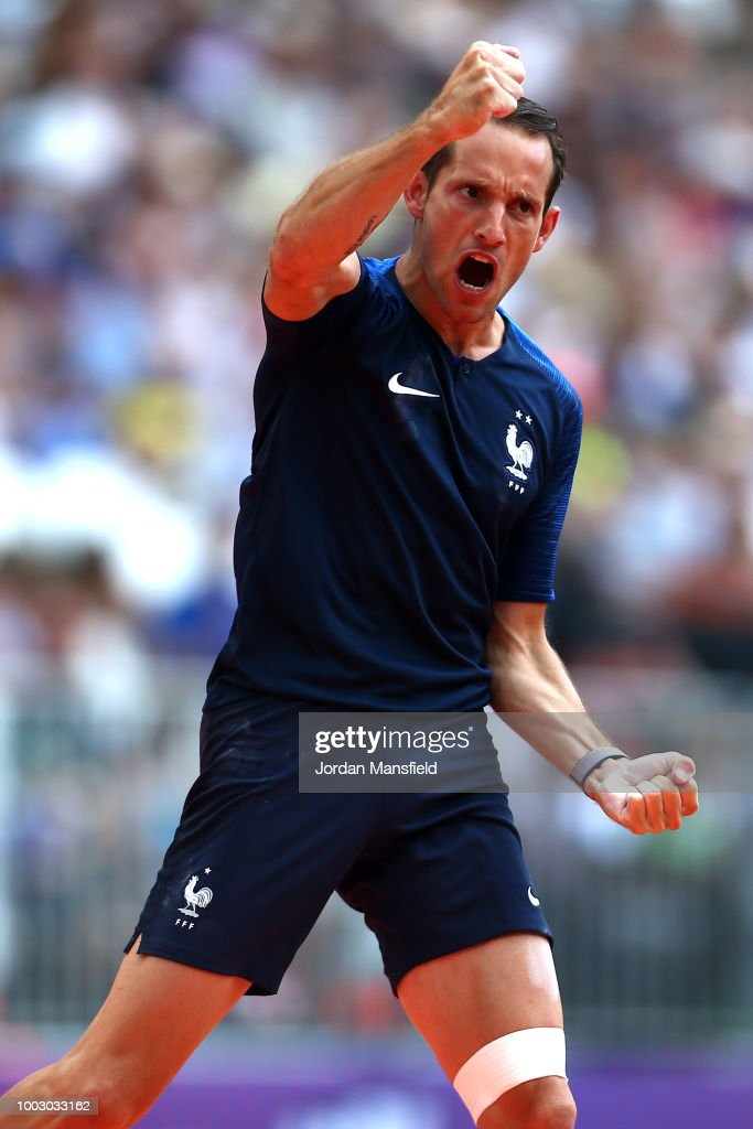 Renaud Lavillenie of France reacts in the Men's Pole Vault during Day One of the Muller Anniversary Games at London Stadium on July 21, 2018 in London, England.