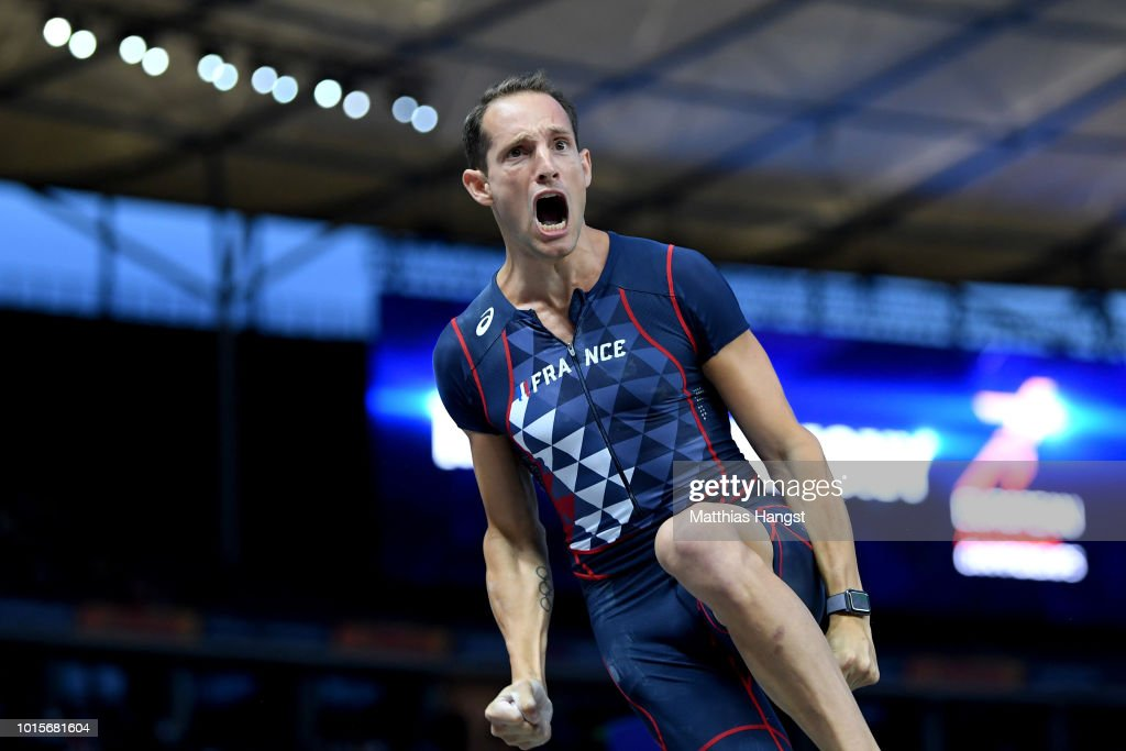 Renaud Lavillenie of France reacts in the Men's Pole Vault final during day six of the 24th European Athletics Championships at Olympiastadion on August 12, 2018 in Berlin, Germany. This event forms part of the first multi-sport European Championships.
