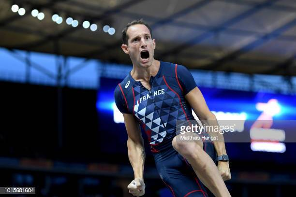 Renaud Lavillenie of France reacts in the Men's Pole Vault final during day six of the 24th European Athletics Championships at Olympiastadion on...