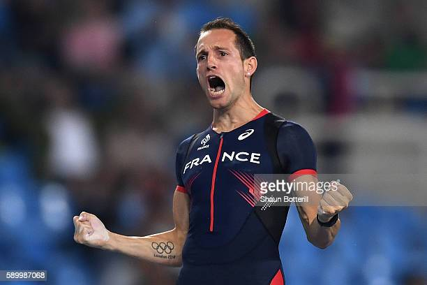 Renaud Lavillenie of France reacts while competing in the Men's Pole Vault final on Day 10 of the Rio 2016 Olympic Games at the Olympic Stadium on...