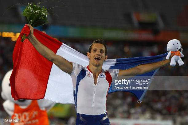 Renaud Lavillenie of France wins gold in the Mens Pole Vault Final during day five of the 20th European Athletics Championships at the Olympic...