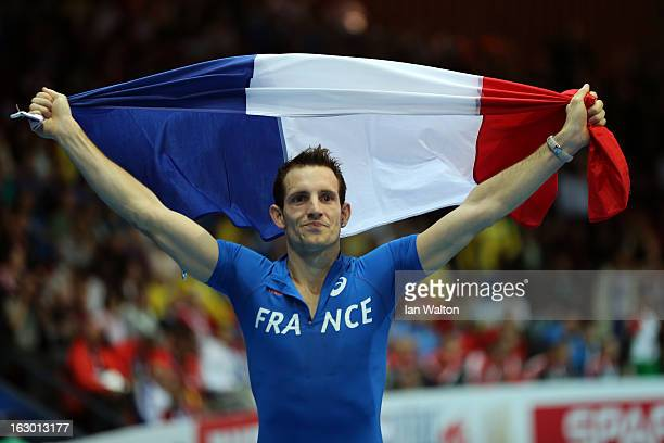 Renaud Lavillenie of France wins gold in the Men's Pole Vault Final during day three of European Indoor Athletics at Scandinavium on March 3 2013 in...