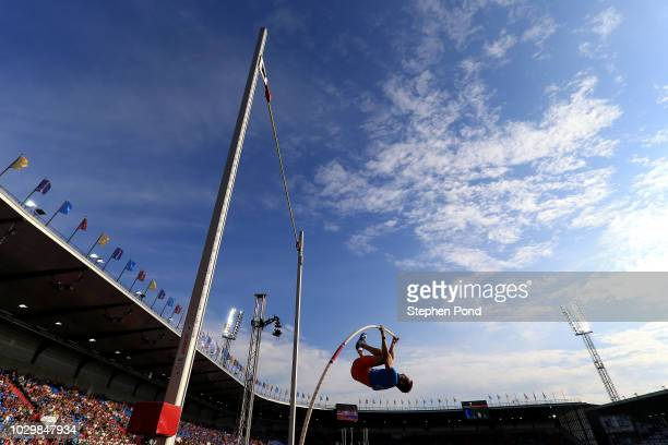 Renaud Lavillenie of Team Europe competes in the Mens Pole Vault during day two of the IAAF Continental Cup at Mestsky Stadium on September 9 2018 in...