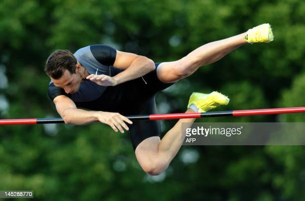 Renaud Lavillenie of the France competes during the Shot Put Men event at the Zlata Tretra athletic meeting on May 25 2012 in the eastern Czech city...