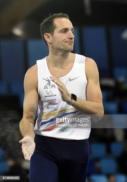 Renaud Lavillenie reacts after an attempt as he takes part in the men's pole vault event during the French Indoor Athletics Championships in Lievin...