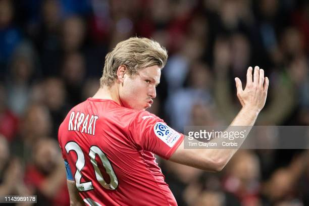 April 20: Renaud Ripart of Nimes celebrates after scoring his sides second goal during the Nimes V Bordeaux, French Ligue 1, regular season match at...