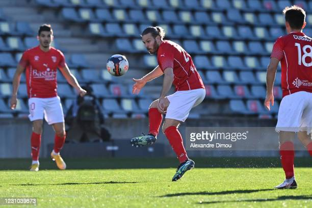 Renaud RIPART of Nimes during the Ligue 1 soccer match between Nimes Olympique and AS Monaco at Costieres stadium on February 7, 2021 in Nimes,...