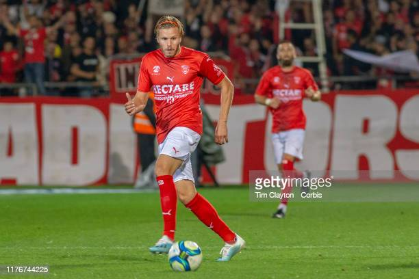 September 21: Renaud Ripart of Nimes in action during the Nimes V Toulouse, French Ligue 1, regular season match at Stade des Costières on September...