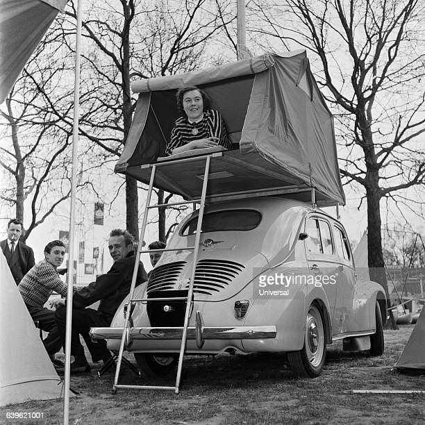 A Renault 4 CV which can be converted into a tent for three campers