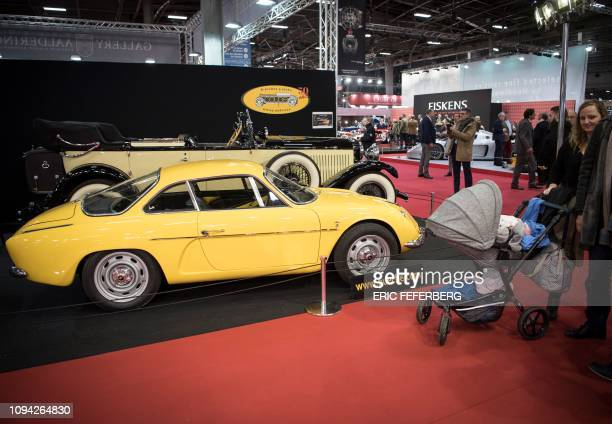 A Renault Alpine and a Hispano Suiza are displayed during the Retromobile auto show in Paris on February 5 2019
