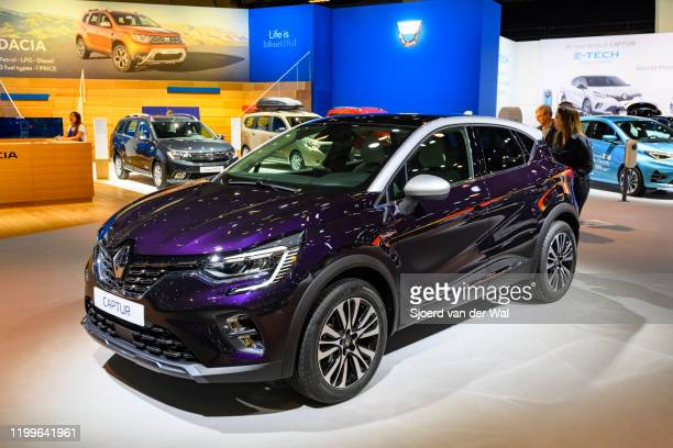 Renault Captur Subcompact crossover SUV on display at Brussels Expo on January 9, 2020 in Brussels, Belgium. The Renault Captur II is available with...