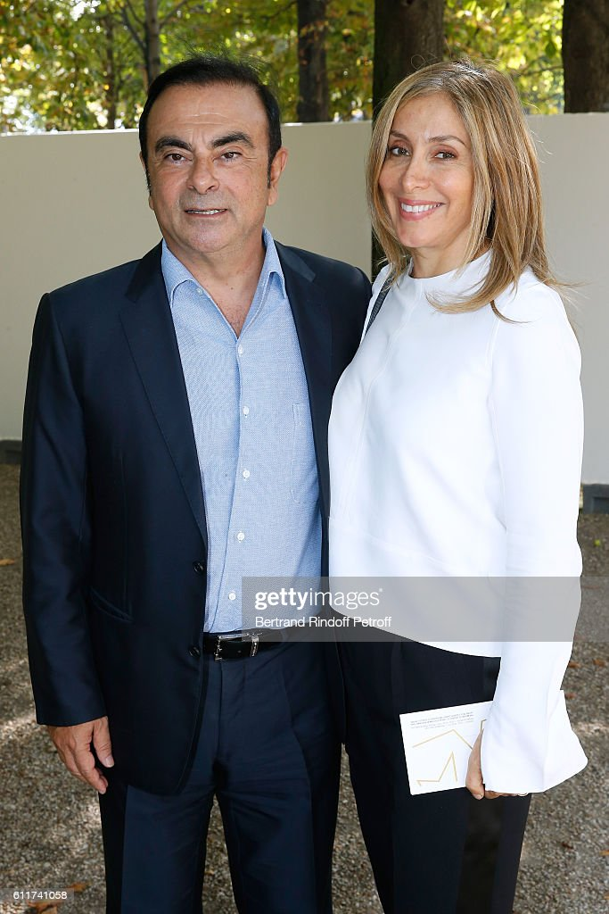 Renault Carlos Ghosn and his wife Carole attend the Elie Saab show as part of the Paris Fashion Week Womenswear Spring/Summer 2017 on October 1, 2016 in Paris, France.