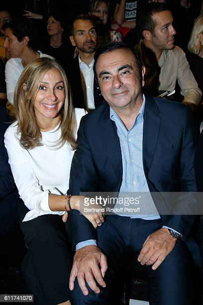 Renault Carlos Ghosn and his wife Carole attend the Elie Saab show as part of the Paris Fashion Week Womenswear Spring/Summer 2017 on October 1 2016...
