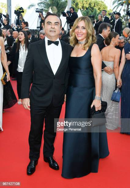 Renault CEO Carlos Ghosn and his wife Carole Ghosn attend the screening of Ash Is The Purest White during the 71st annual Cannes Film Festival at...