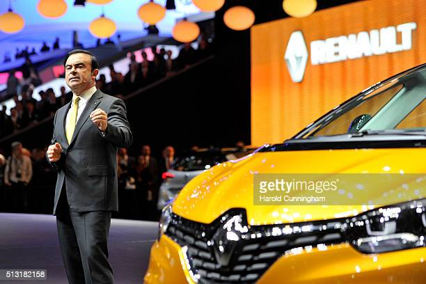 Renault CEO Carlos Ghosn speaks during the Renault press conference as part of the Geneva Motor Show 2016 on March 1 2016 in Geneva Switzerland