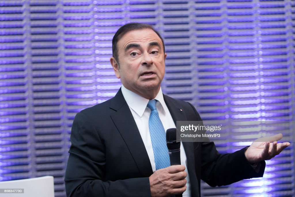 Renault Chairman and CEO Carlos Ghosn holds a Strategic Plan Conference 'Drive the Future' at the Grande Arche de La Defense on October 6, 2017 in Paris, France. The car manufacturer Renault promised that electric vehicles would be among its ranges in 2022 and targets the five million vehicles sold in 2022 and a turnover of more than 70 billion euros.