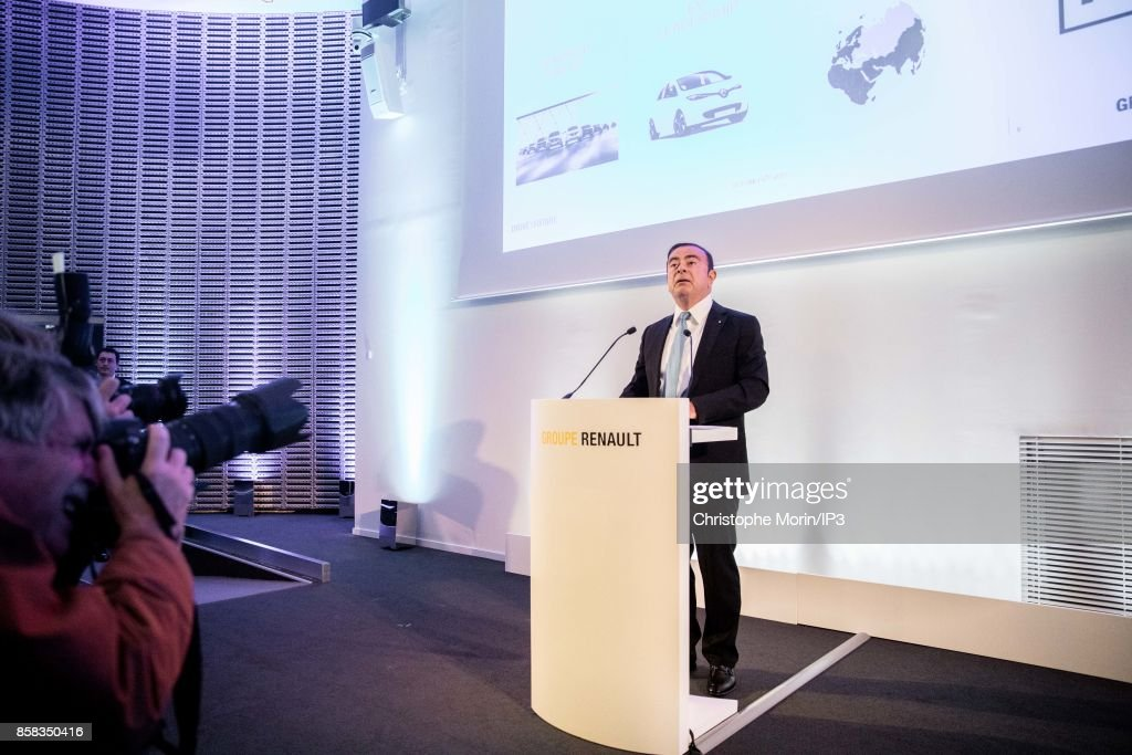 Renault Chairman and CEO Carlos Ghosn holds a Strategic Plan Conference 'Drive the Future' at the Grande Arche de La Defense on October 6, 2017 in Paris, France. The car manufacturer Renault promised that eight one hundred electric vehicles would be among its ranges in 2022 and targets the five million vehicles sold in 2022 and a turnover of more than 70 billion euros.